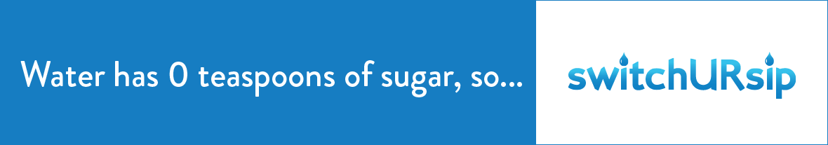 Water has 0 teaspoons of sugar